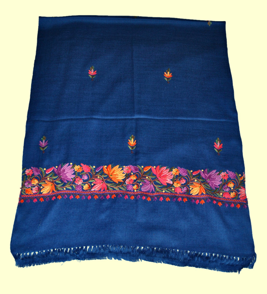 Embroidered Wool Shawl Scarf Navy Blue, Multicolor Embroidery #WS-130