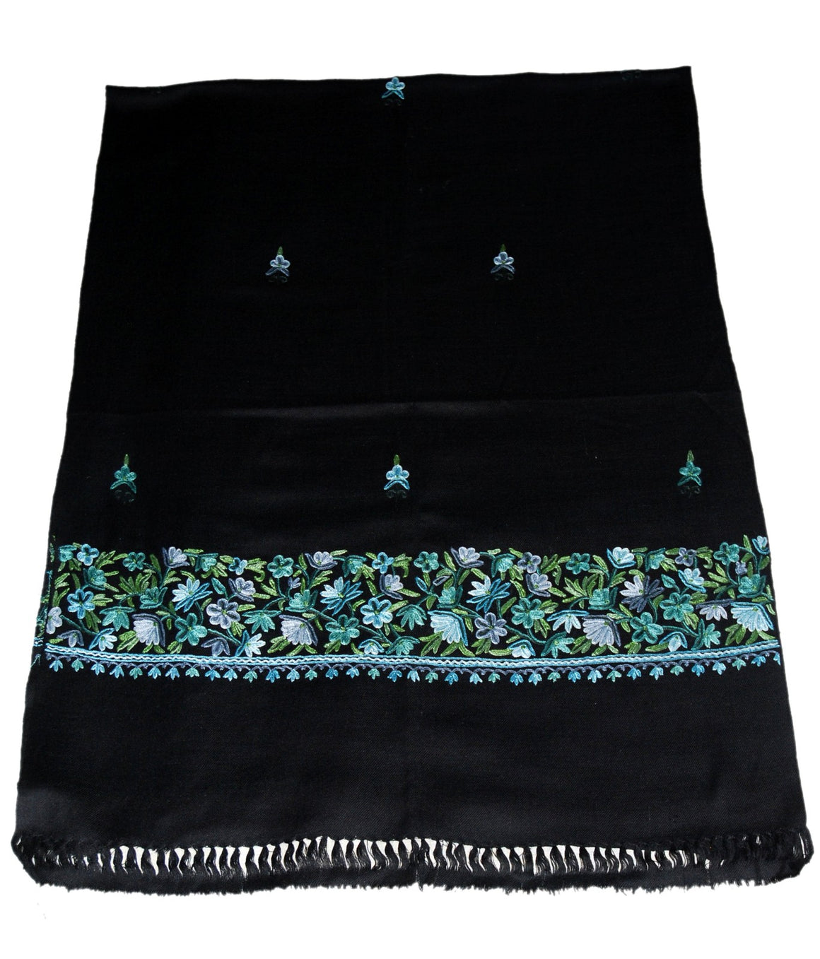 Embroidered Wool Shawl Scarf Black, Blue Green Embroidery #WS-131