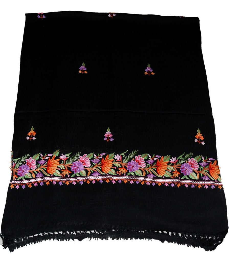 Embroidered Wool Shawl Scarf Black, Multicolor Embroidery #WS-132