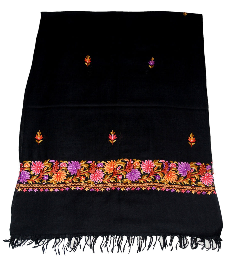 Embroidered Wool Shawl Scarf Black, Multicolor Embroidery #WS-135