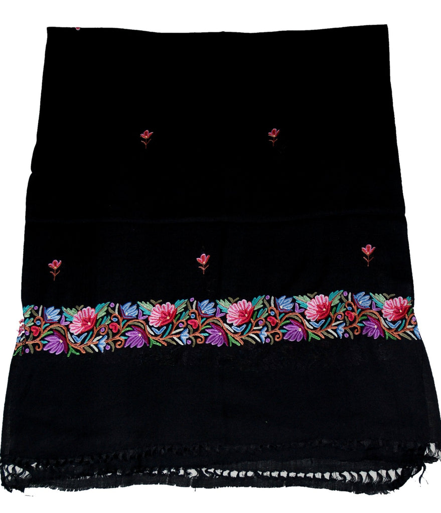 Embroidered Wool Shawl Scarf Black, Multicolor Embroidery #WS-136