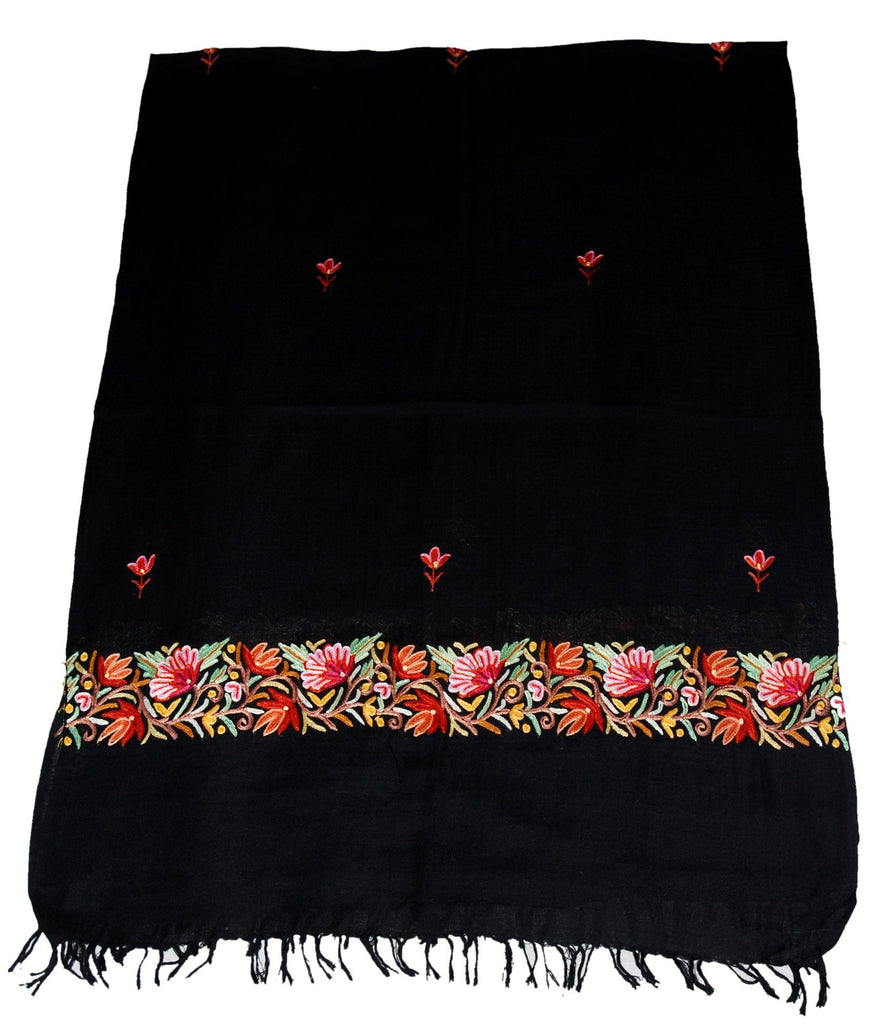 Embroidered Wool Shawl Scarf Black, Multicolor Embroidery #WS-137