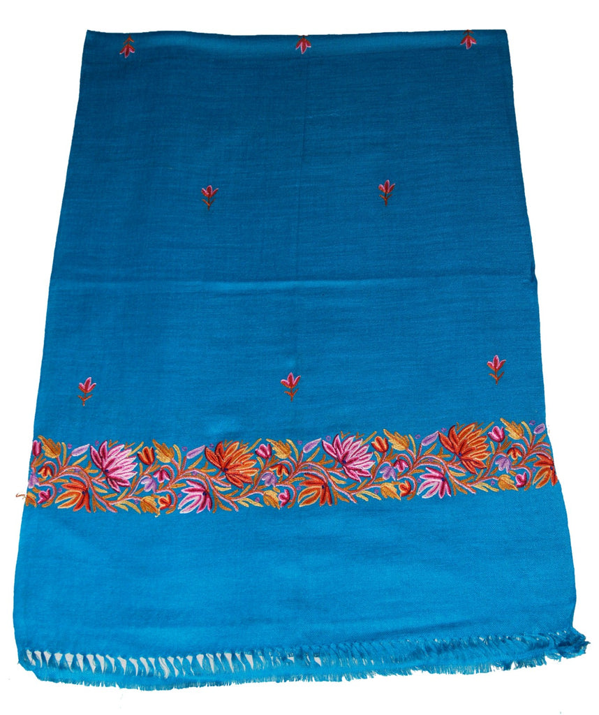 Embroidered Wool Shawl Scarf Turquoise, Multicolor Embroidery #WS-138