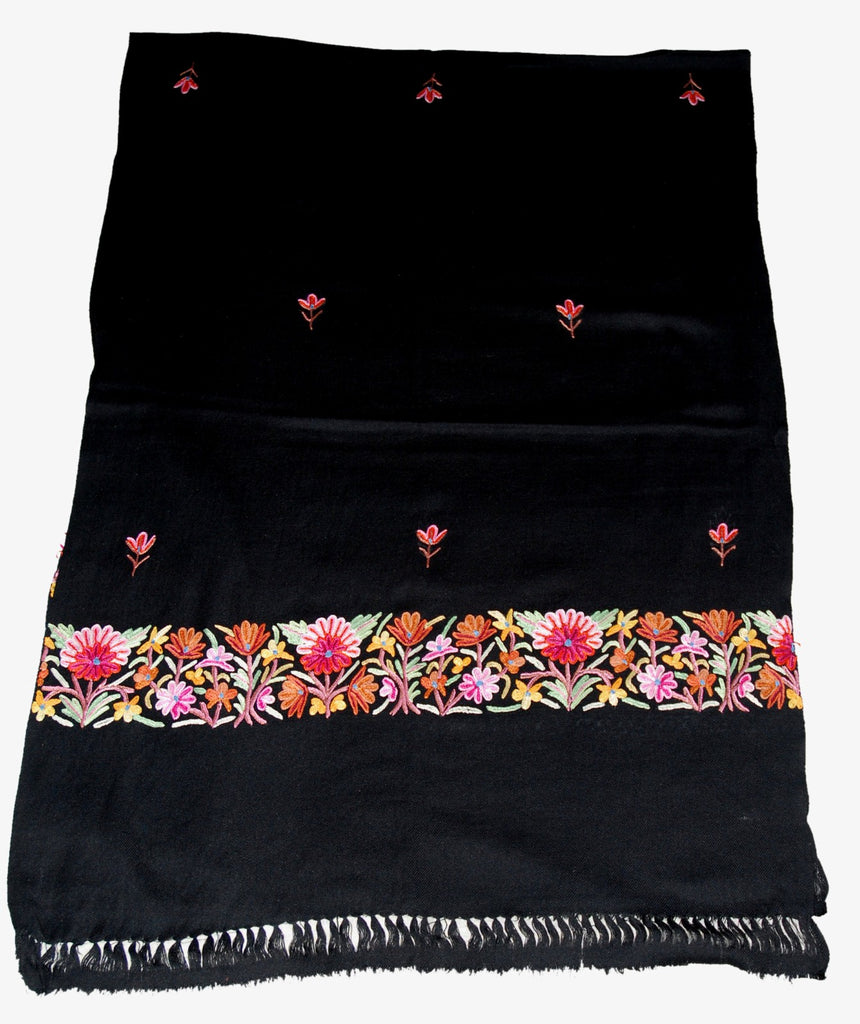Embroidered Wool Shawl Scarf Black, Multicolor Embroidery #WS-140