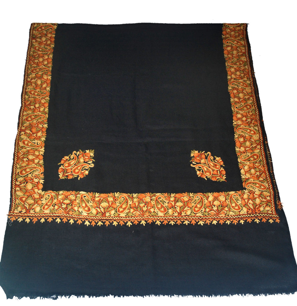 Embroidered Wool Shawl Scarf Black, Multicolor Embroidery #WS-402
