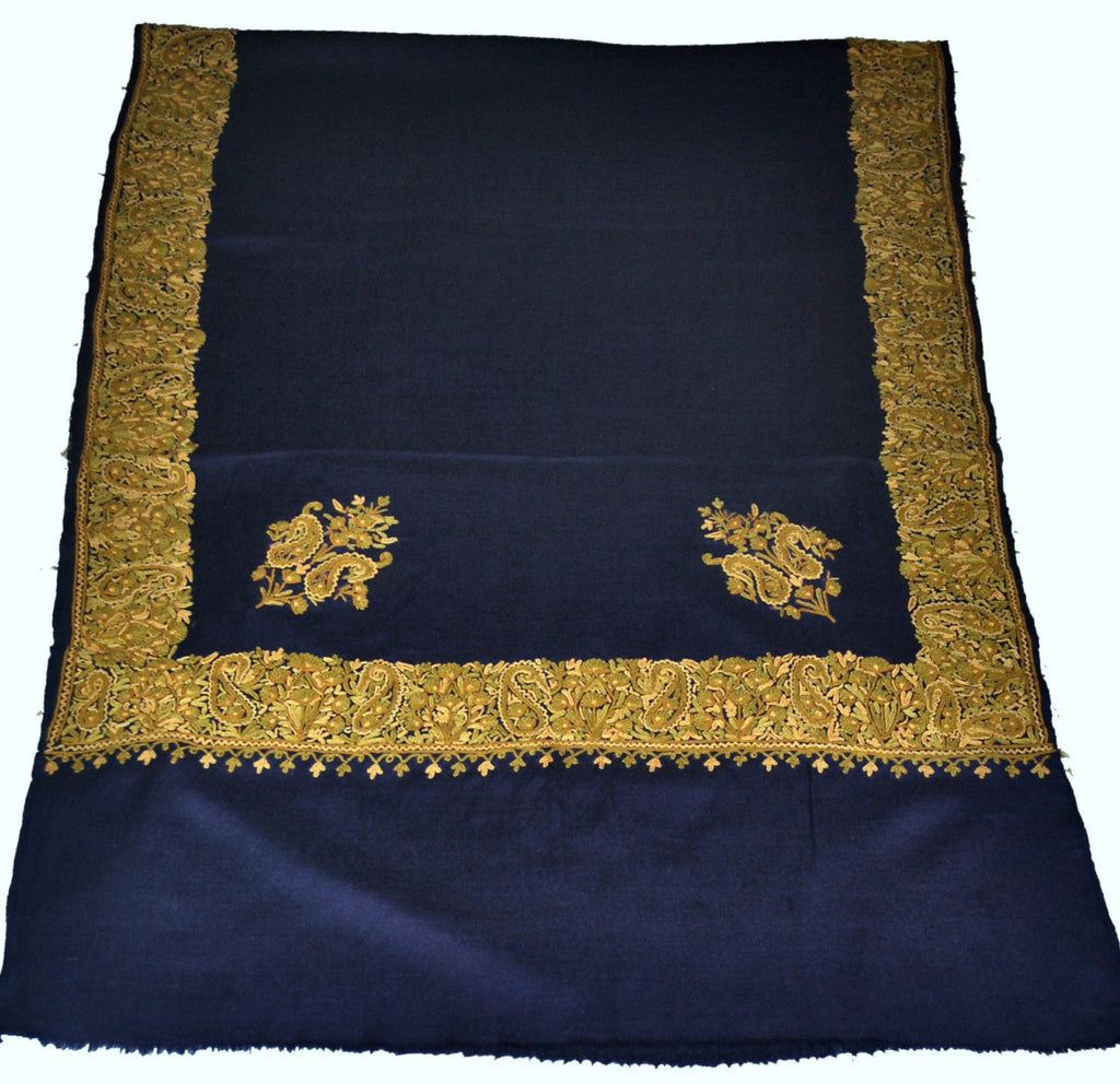 Embroidered Wool Shawl Scarf Navy, Multicolor Embroidery #WS-403