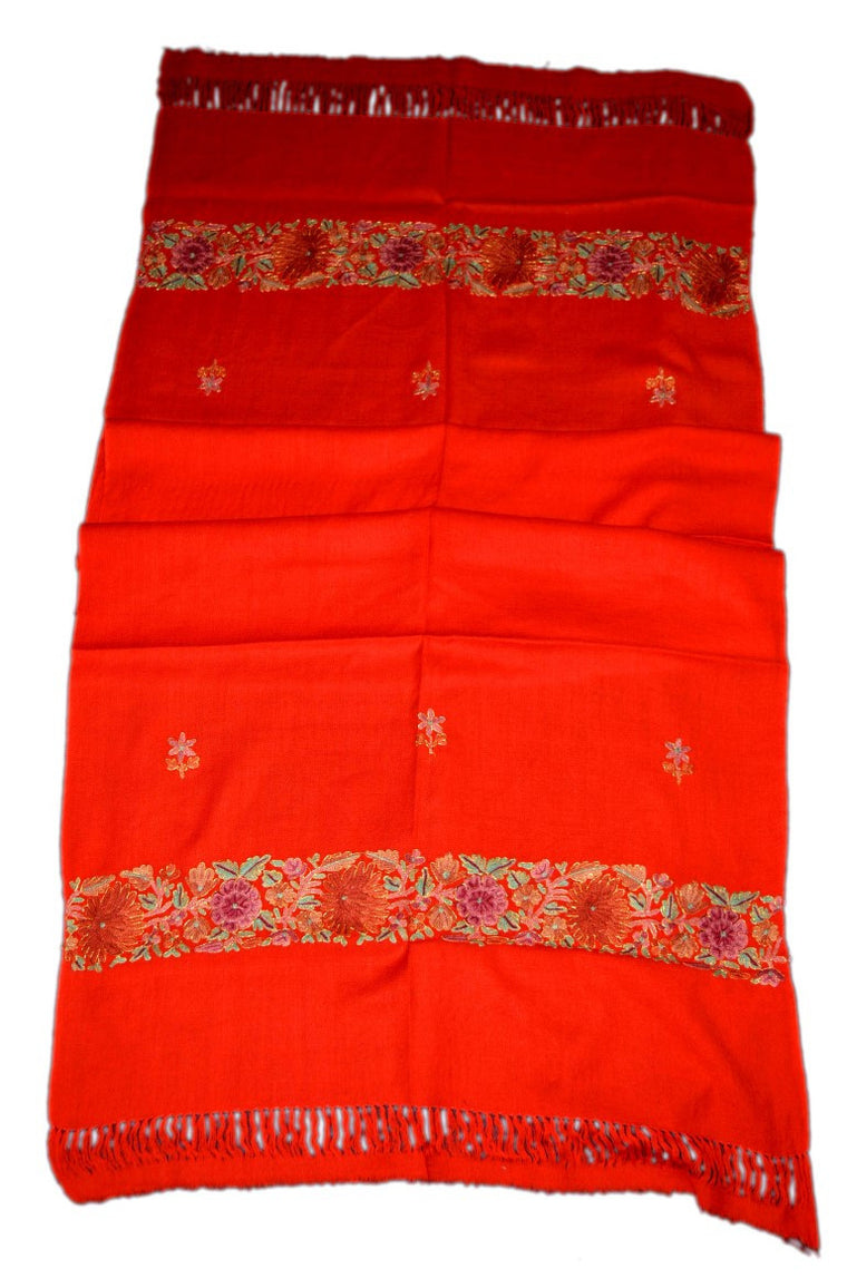 Embroidered Wool Shawl Scarf Red, Multicolor Embroidery #WS-102