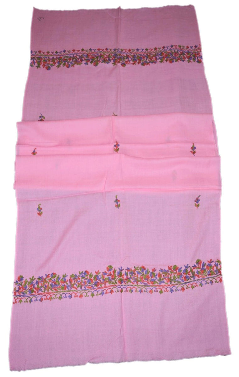 Woolen Embroidered Stole Scarf Pink, Multicolor Embroidery #WS-105
