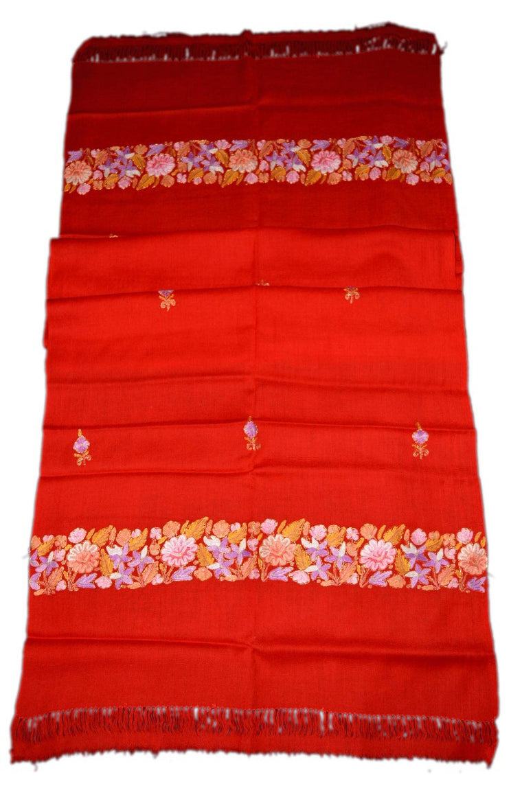 Embroidered Wool Shawl Scarf Red, Multicolor Embroidery #WS-108