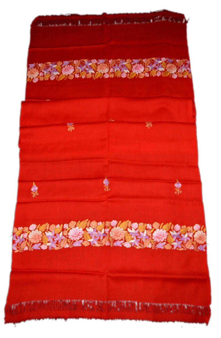 Woolen Embroidered Stole Scarf Red, Multicolor Embroidery #WS-108