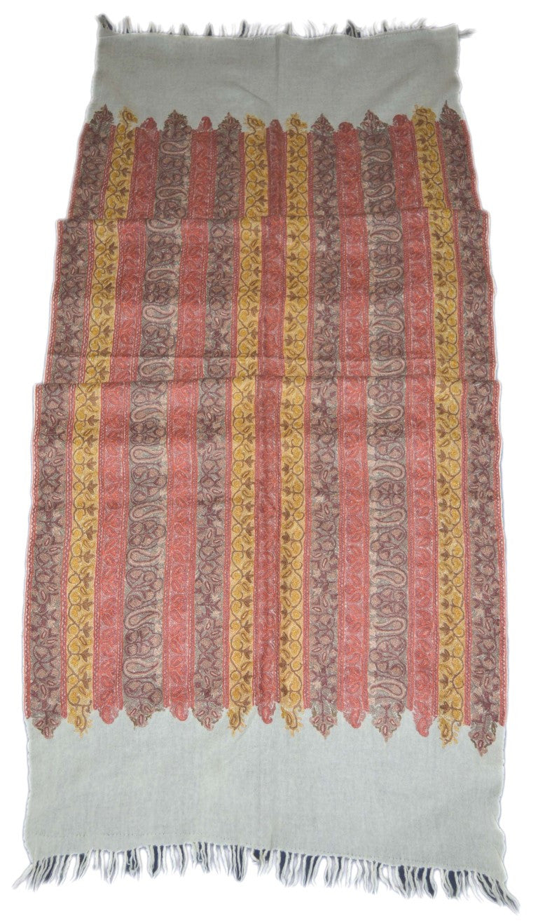 "Embroidered Wool Shawl ""Jamawar"" Scarf White, Multicolor Embroidery #WS-112"