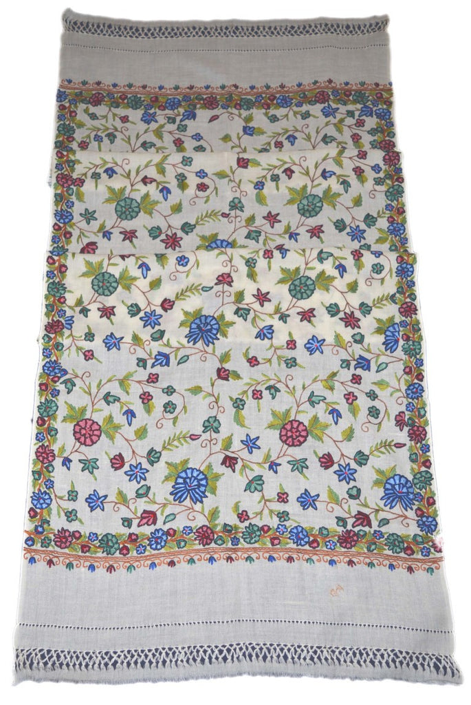 Woolen Embroidered Stole Scarf White, Multicolor Embroidery #WS-114