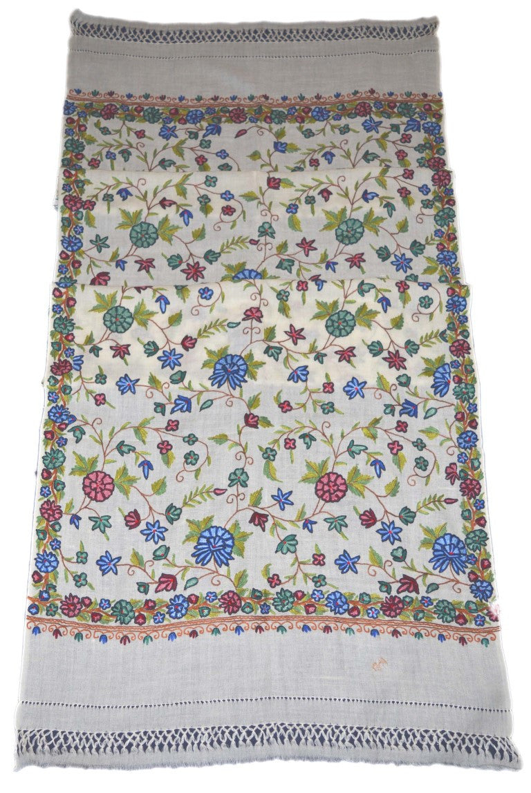 Embroidered Wool Shawl Scarf White, Multicolor Embroidery #WS-114
