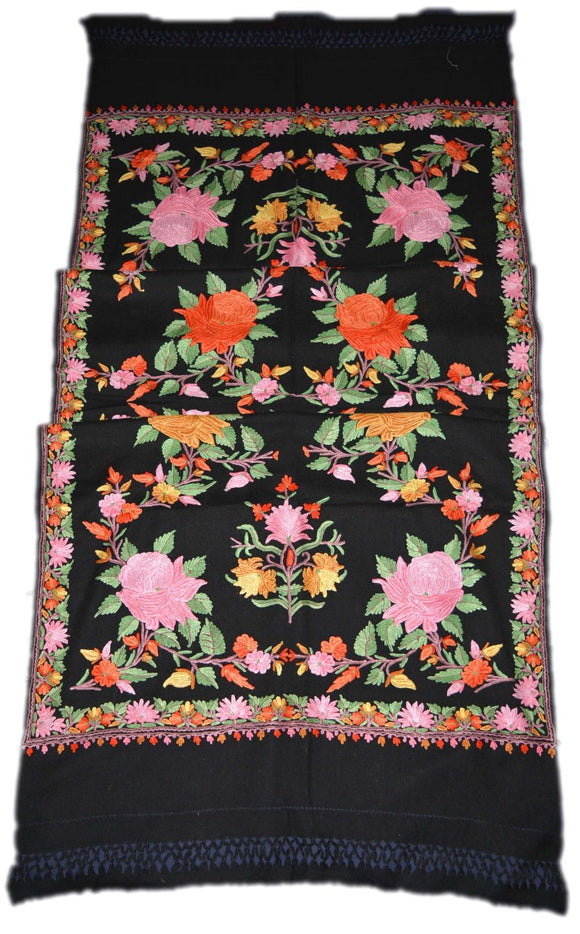 Embroidered Wool Shawl Scarf Black, Multicolor Embroidery #WS-117