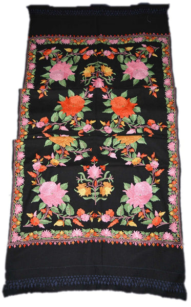 Woolen Embroidered Shawl Black, Multicolor Embroidery #WS-117
