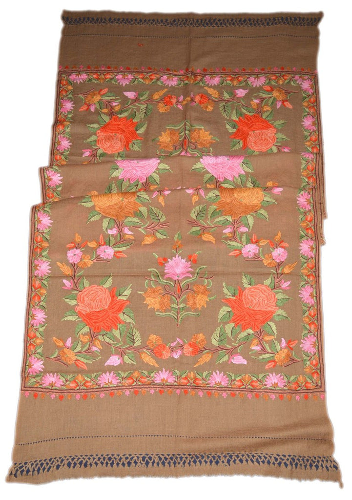 Embroidered Wool Shawl Scarf Schal Beige, Multicolor Embroidery #WS-119
