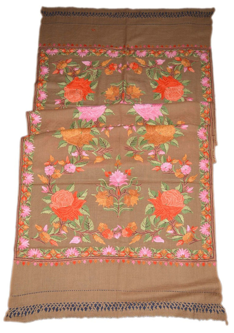 Woolen Embroidered Stole Scarf Schal Beige, Multicolor Embroidery #WS-119
