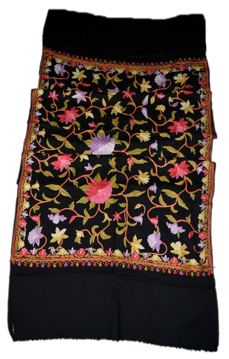 Woolen Embroidered Stole Scarf Black, Multicolor Embroidery #WS-123