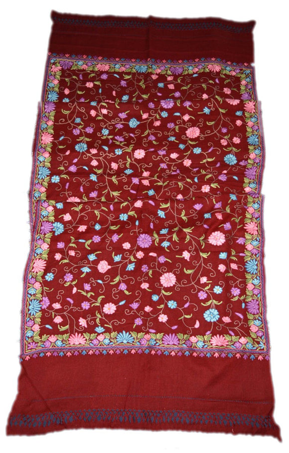 Woolen Embroidered Stole Scarf Burgundy, Multicolor Embroidery #WS-124