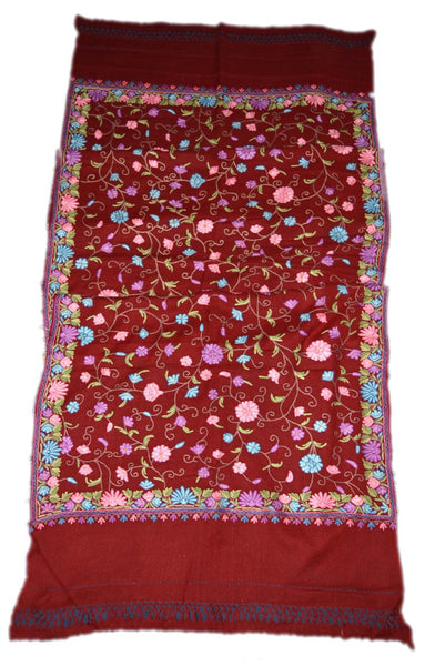 Woolen Embroidered Shawl Burgundy, Multicolor Embroidery #WS-124