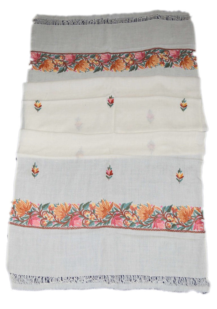 Embroidered Wool Shawl Scarf White, Multicolor Embroidery #WS-126