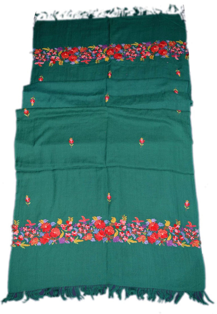 Embroidered Wool Shawl Scarf Green, Multicolor Embroidery #WS-127