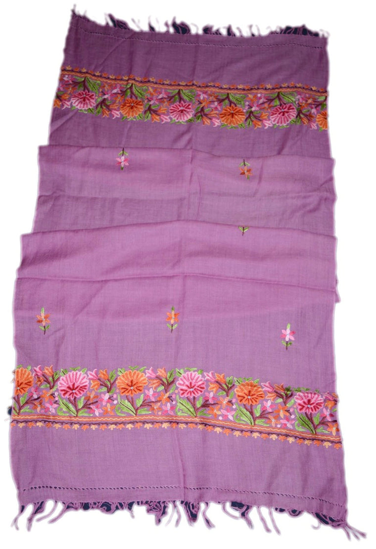 Embroidered Wool Shawl Scarf Purple, Multicolor Embroidery #WS-109