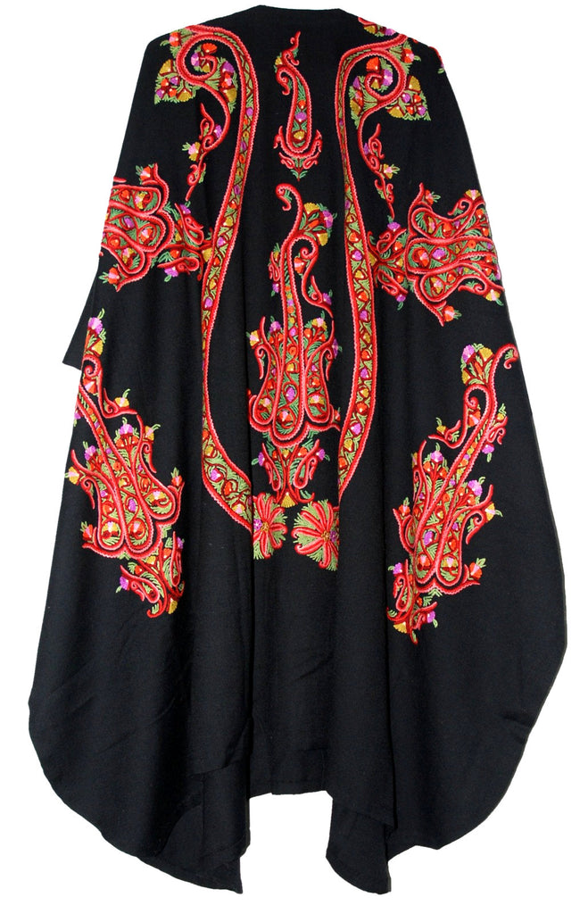 Embroidered Woolen Coat Shrug Black, Multicolor Embroidery #AO-163