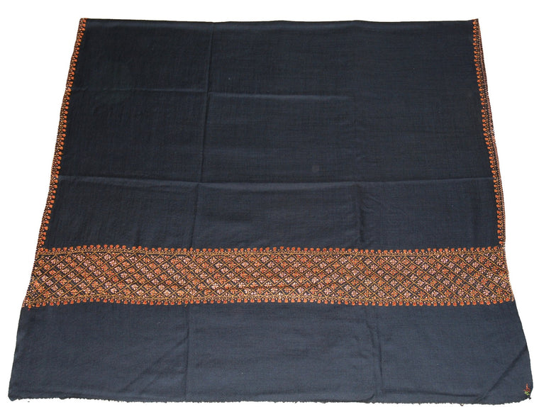 "Embroidered Wool Shawl Black, Multicolor ""Sozni"" Embroidery #WS-501"
