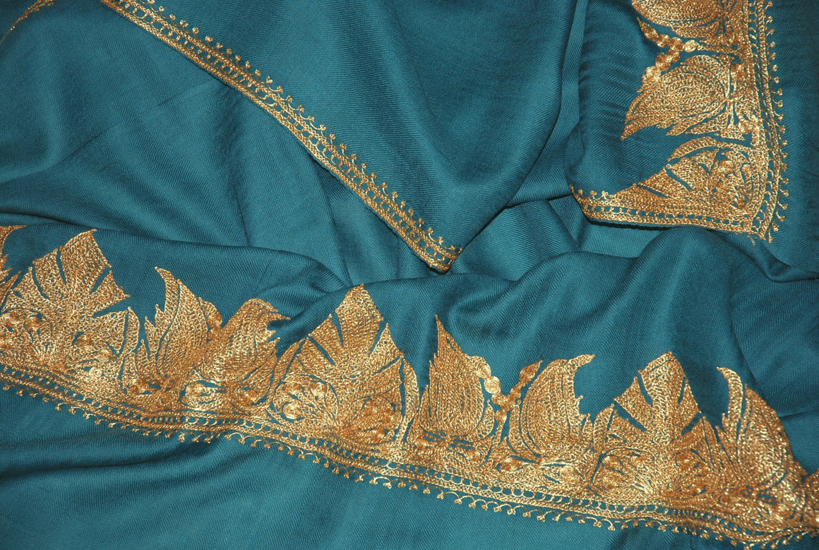 "Embroidered Wool Shawl Sea Green, Gold ""Tilla"" Sozni Embroidery #WS-902"