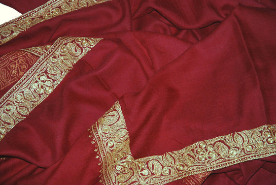 "Embroidered Wool Shawl Burgundy Maroon, Gold ""Tilla"" Sozni Embroidery #WS-923"