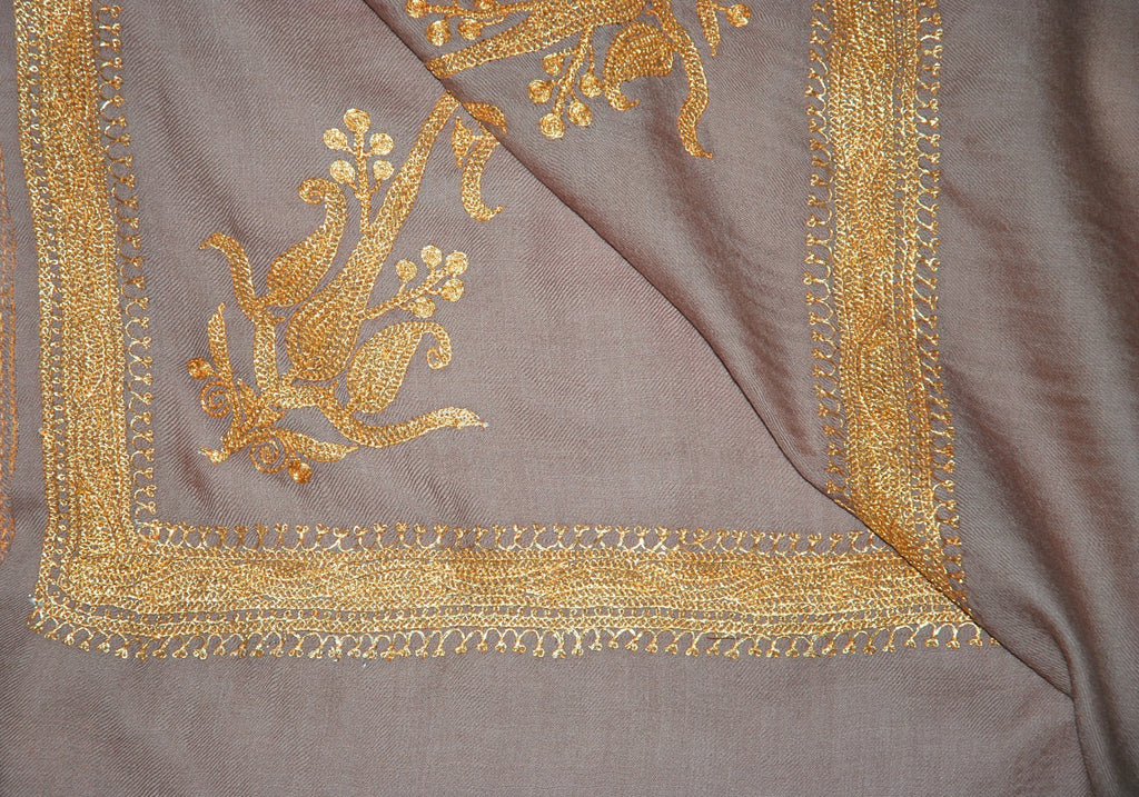 "Embroidered Wool Shawl Beige, Gold ""Tilla"" Sozni Embroidery #WS-941"