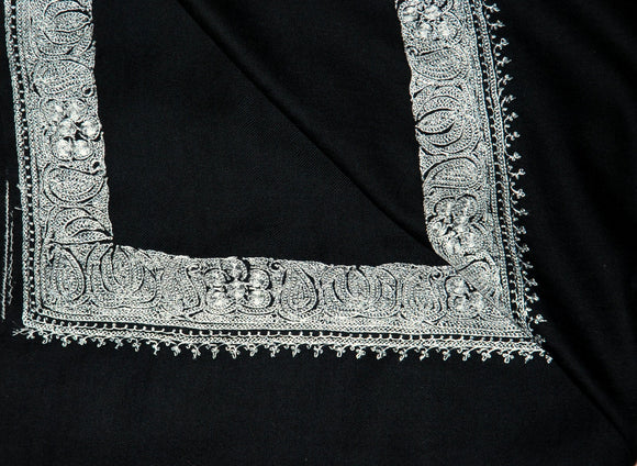 "Embroidered Wool Shawl Black, Silver ""Tilla"" Sozni Embroidery #WS-903"