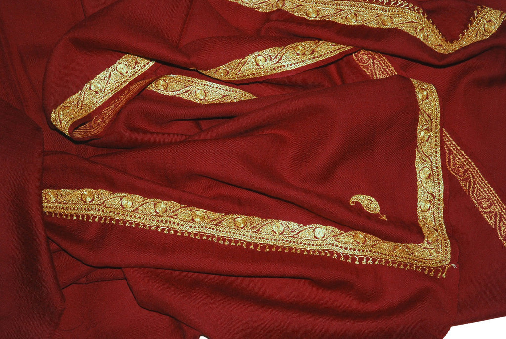 "Embroidered Wool Shawl Burgundy Maroon, Gold ""Tilla"" Sozni Embroidery #WS-922"