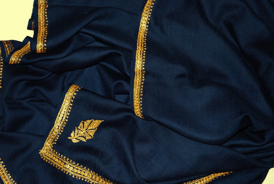 "Embroidered Wool Shawl Navy, Gold ""Tilla"" Sozni Embroidery #WS-911"
