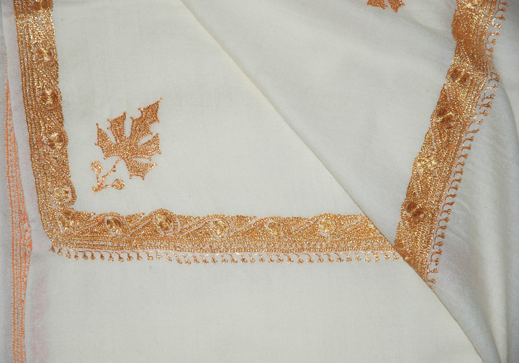 "Embroidered Wool Shawl White Ivory, Gold ""Tilla"" Sozni Embroidery #WS-921"
