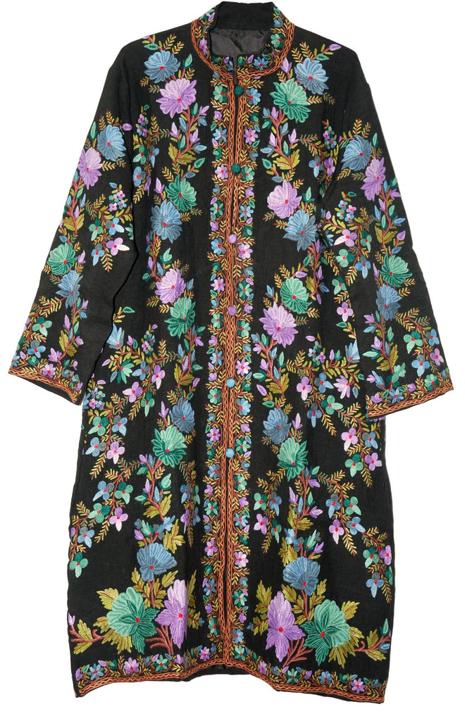 Embroidered Linen Coat Black, Multicolor Embroidery #AO-611