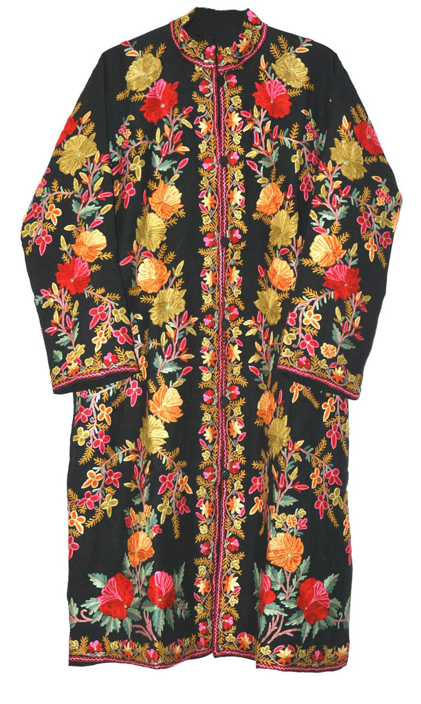 Embroidered Linen Coat Black, Multicolor Embroidery #AO-612