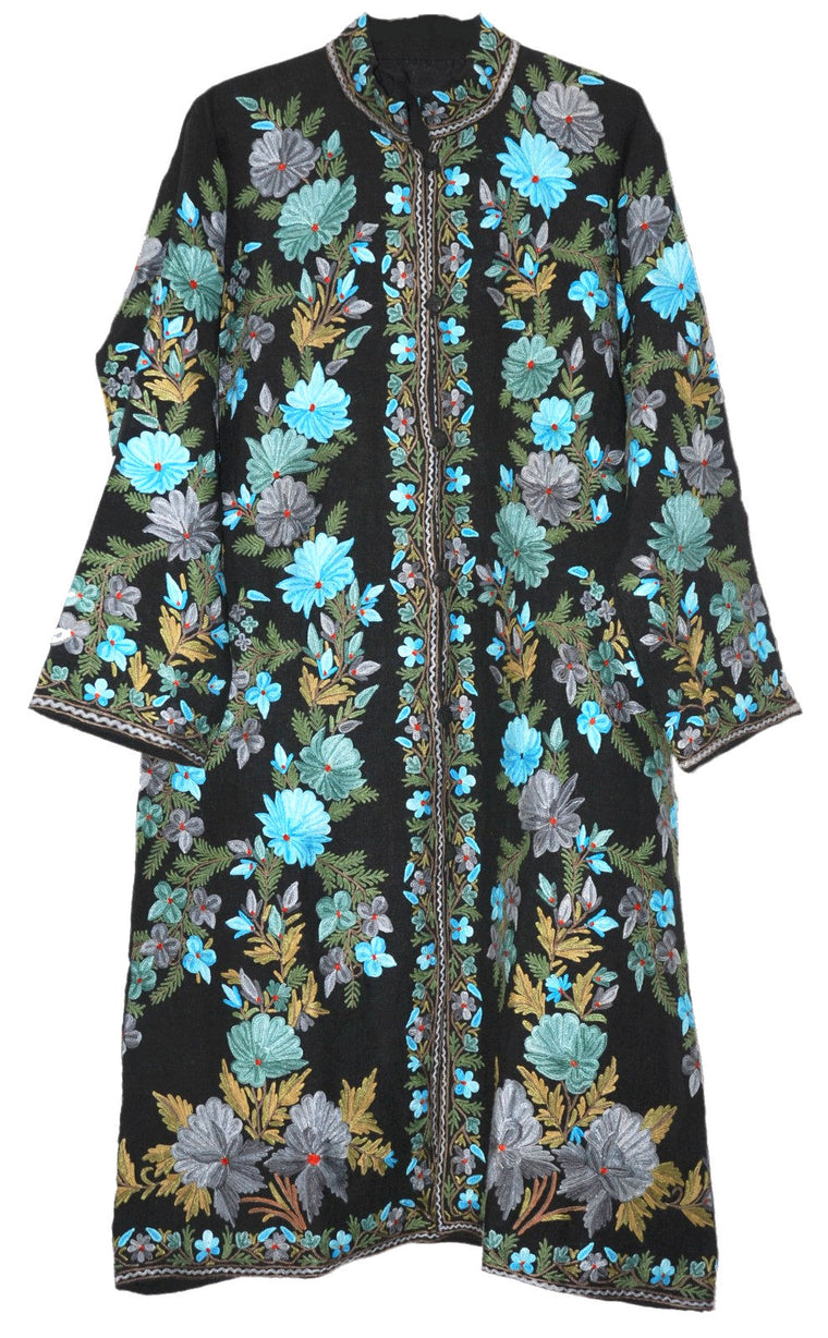 Embroidered Linen Coat Black, Blue and Green Embroidery #AO-613