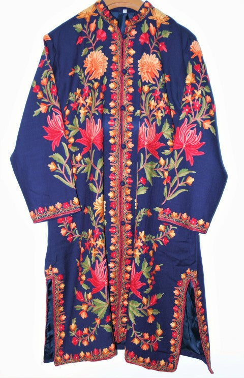 Embroidered Woolen Coat Navy Blue, Multicolor Embroidery #AO-134
