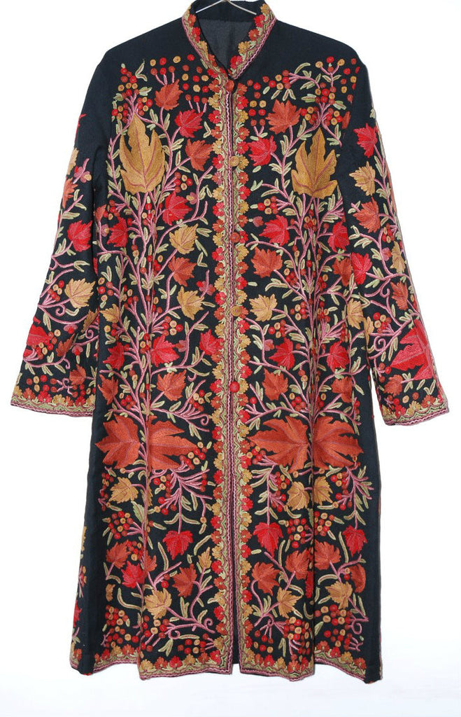 Embroidered Woolen Coat Black, Multicolor Embroidery #AO-136