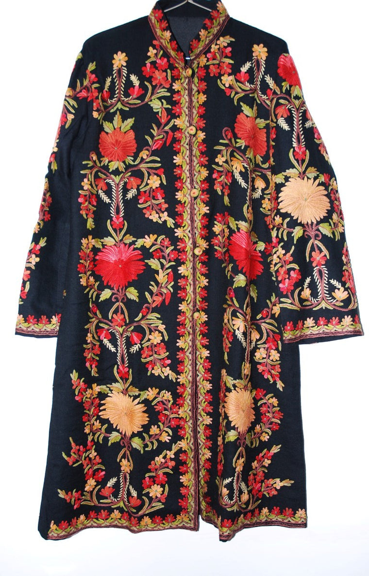 Embroidered Woolen Coat Black, Multicolor Embroidery #AO-137