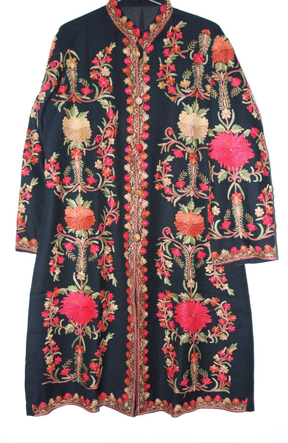 Embroidered Woolen Coat Black, Multicolor Embroidery #AO-138