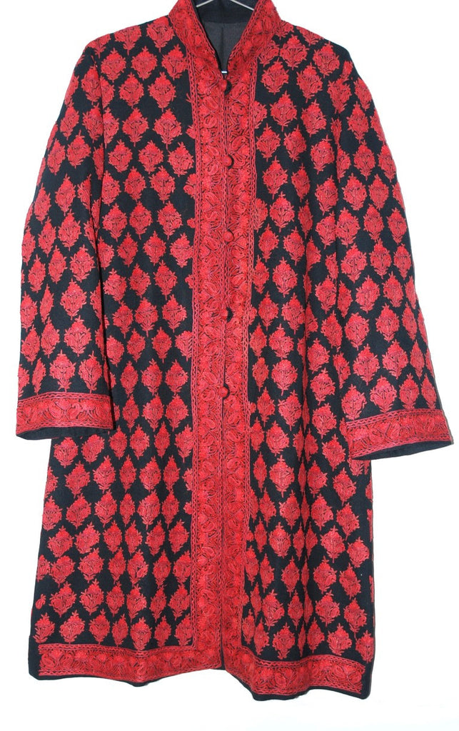 Embroidered Woolen Coat Black, Red Embroidery #AO-139