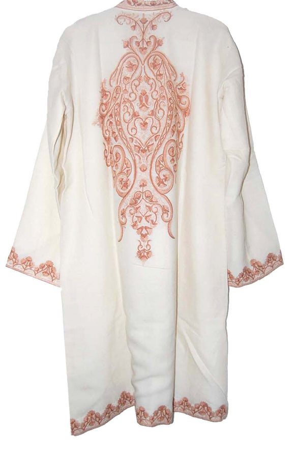 Embroidered Woolen Coat White, Rust Embroidery #AO-143