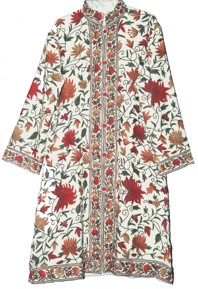 Embroidered Woolen Coat White, Multicolor Embroidery #AO-157