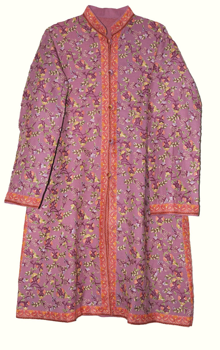 Woolen Coat Long Jacket Dull Pink, Multicolor Embroidery #AO-165