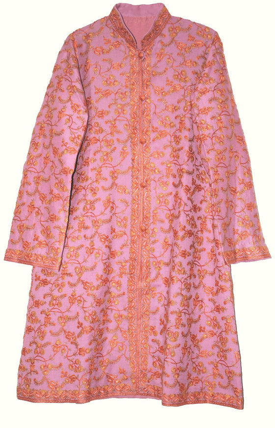 Woolen Coat Long Jacket Pink, Multicolor Embroidery #AO-167