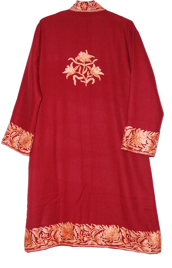 Embroidered Woolen Coat Burgundy, Multicolor Embroidery #BD-103
