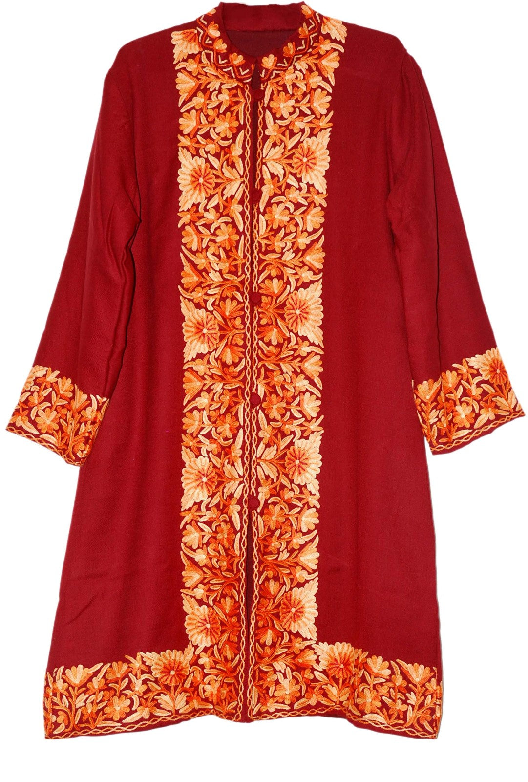 Embroidered Woolen Coat Burgundy, Rust Embroidery #BD-107